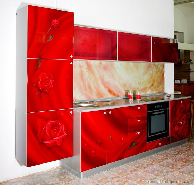 #Kitchen Idea Of The Day: Roses Are Red. So Are These Kitchens.