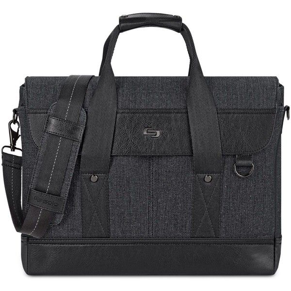 Solo Bradford Slim Laptop Briefcase ($72) ❤ liked on Polyvore featuring men's fashion, men's bags, men's briefcases, black and mens slim briefcase