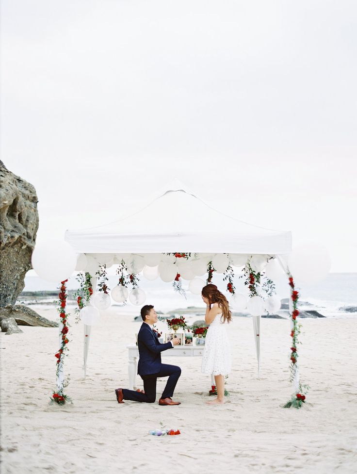 Winter Marriage Proposal At The Beach