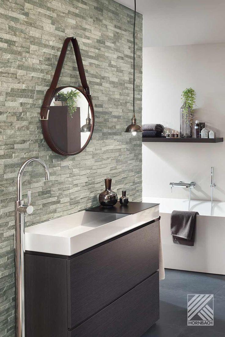 Wandgestaltung mit Verblendern   Runde badezimmerspiegel ...