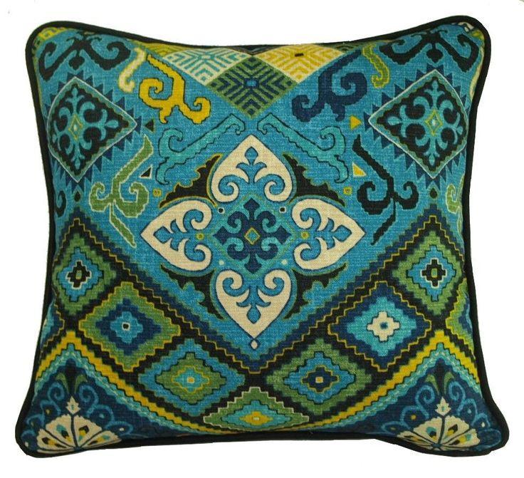 Turquoise, Black, Gold, Green & Aqua, Ethnic Ikat 45x47cm Cushion/Pillow Cover $38