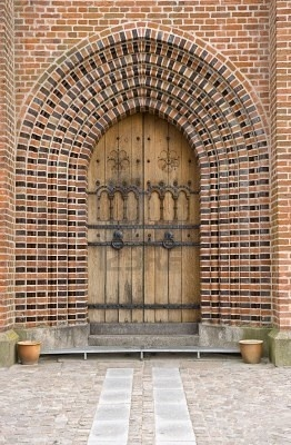 Church door Sortebroedre Church, Viborg, Denmark