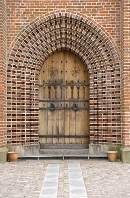 Church door Sortebroedre Church, Viborg, Denmark