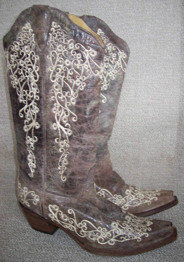 Corral Vintage Cowgirl Boots Embroidered 8 Cowhide Square Toe Western Bone A1094 | Clothing, Shoes & Accessories, Women's Shoes, Boots | eBay!
