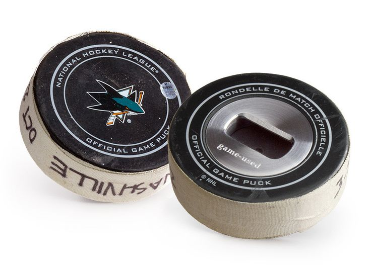 San Jose Sharks Game Used Puck Bottle Opener