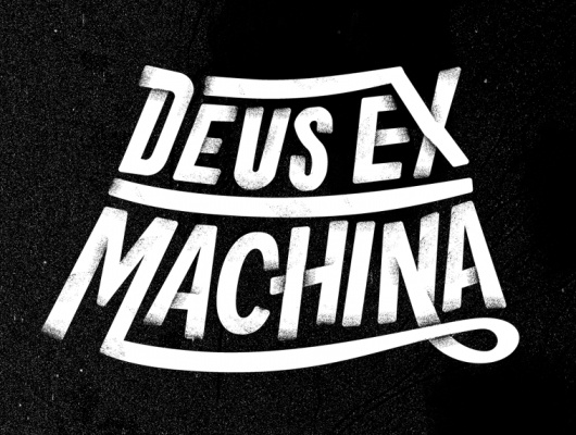 Type treatment for motorcycle company Deux Ex Machina, by Dan Cassaro.