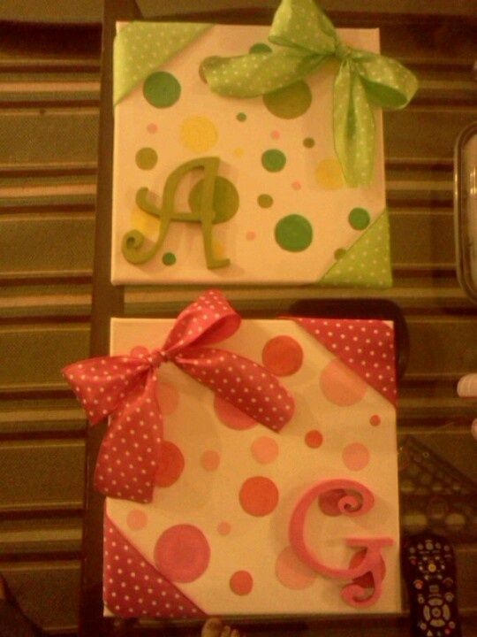 Made three of these for my neice for her room. Painted polka dots on canvas glued on wooden initials from michaels . Wrapped the corners and made the bows from dollar store ribbon