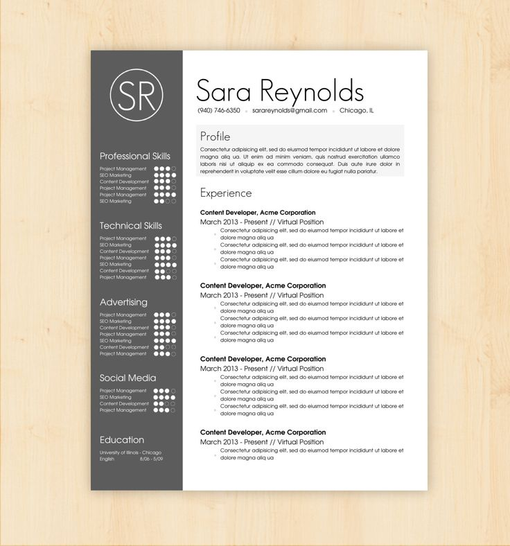 Resume Template / CV Template  The Sara Reynolds by PhDPress, $16.00