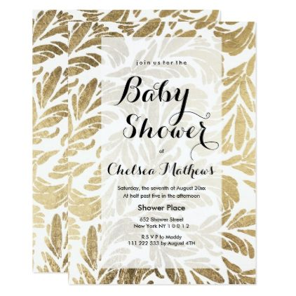 Elegant faux gold foil floral damask Baby Shower Card - baby shower ideas party babies newborn gifts