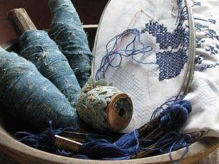 Indigo~: Prairie Blue, Blue Primitive, Sewing Stuff, Beautiful Blue, Primitive Blue, Country Blue, Crosses Stitches, Blue Bobbin, Primitive Decor