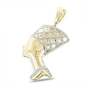 0.5 Ct Egyptian Genuine Natural Diamond 10K Solid Gold Queen Cleopatra Pendant by JewelryHub on Opensky