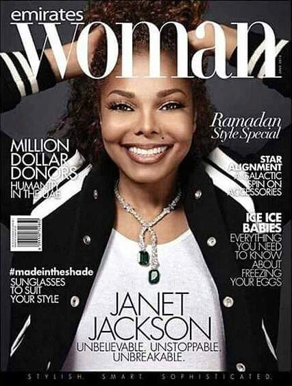 """Unbelievable. Unstoppable. Unbreakable"" Cop a gander of Janet Jackson! The Pop queen, who is reportedly pregnant with her first child, covers the latest issue of Emirates Woman magazin…"