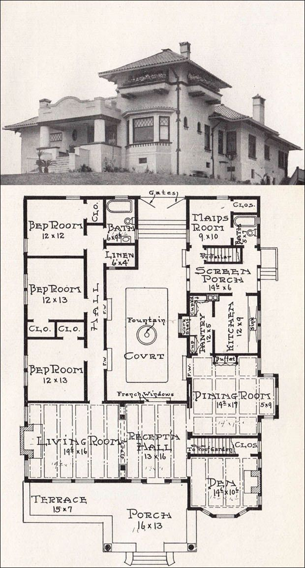Vintage house plan | 1918 Representative California Homes by E. W. Stillwell. This one has a fountain in the middle. Cool!
