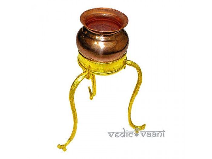 Abhishek pot with tripod stand, Buy Abhishek pot with tripod stand online from India