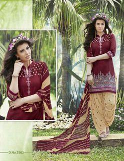 Awesome Maroon Beige Pure Cotton  Salwar Kameez1600