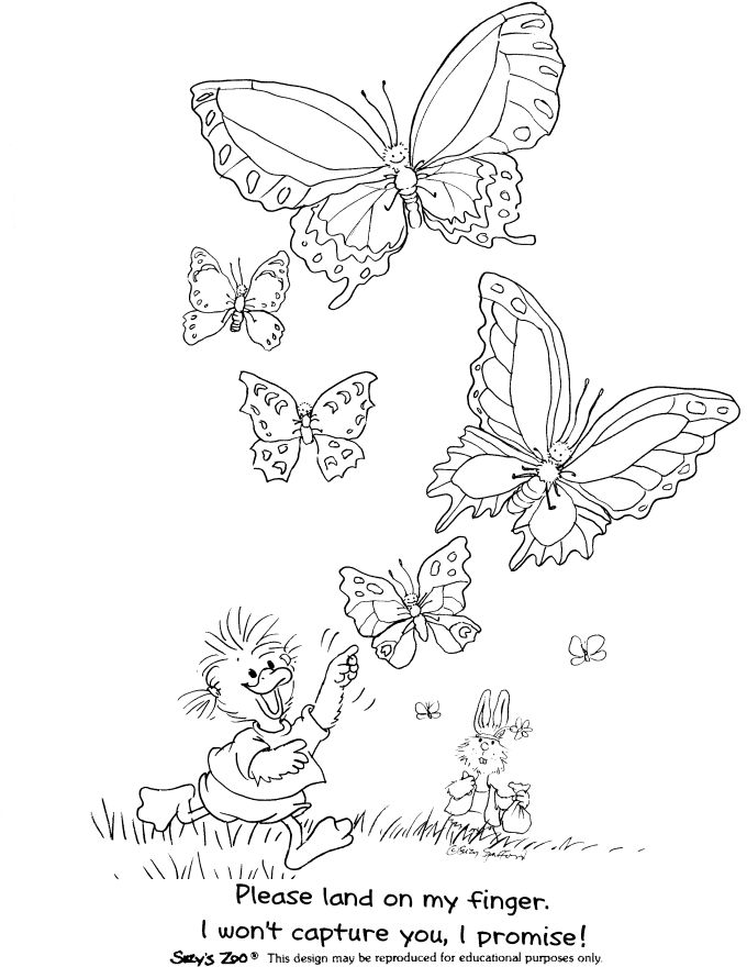 Suzys zoo coloring pages catching butterflies coloringstar