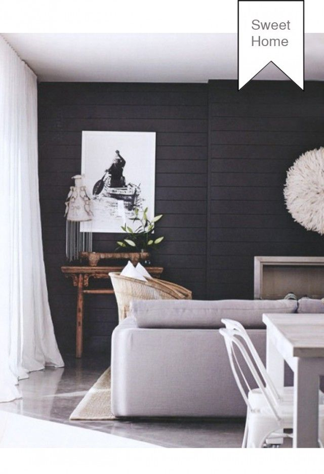 Family Room Inspiration:  Interior of family room, with light grey carpet? Light curtains with dark walls.