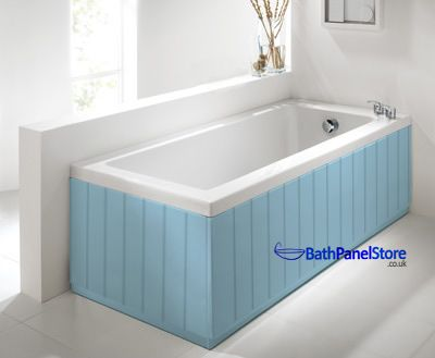 Top Quality Bathroom Tongue and Groove Style 18mm MDF High Gloss Light Blue 2 Piece Bath Panels These are Top Quailty British Made Bath panels in a