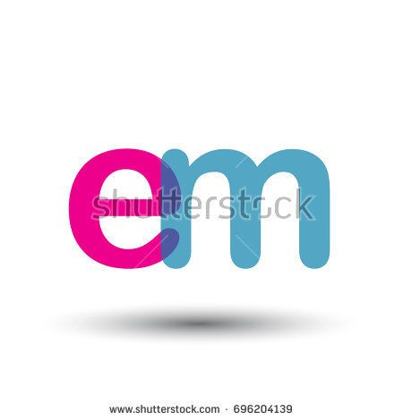 initial logo EM lowercase letter, blue and pink overlap transparent logo, modern and simple logo design.