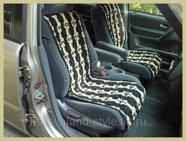 Contrast covers for car seats (macrame).