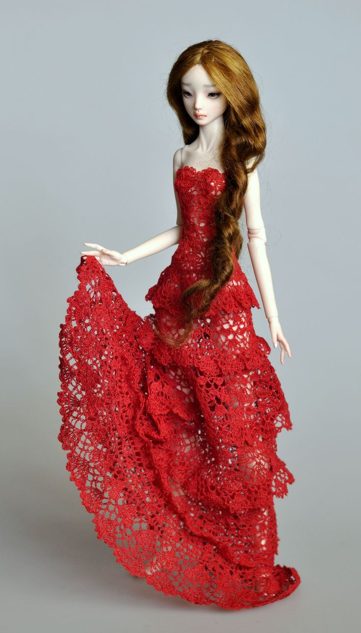 Crochet doll dress - This was in an Etsy shop, but is no longer for sale. I re-pinned it because I think it is so beautiful.