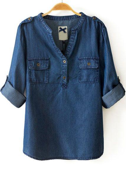 Blusa Denim cuello pico bolsillos-marino EUR€14.61