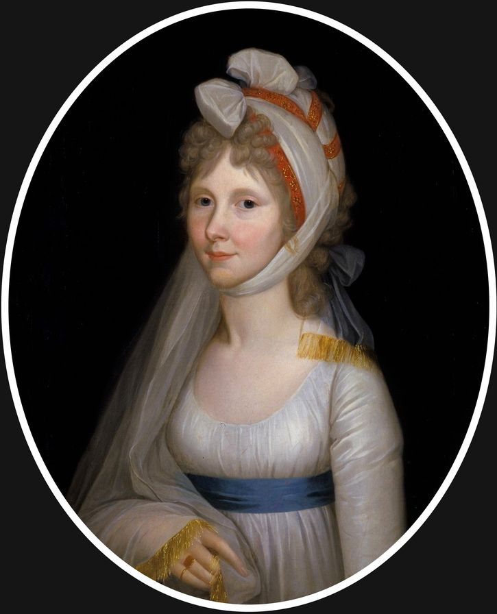ca. 1800 - Crown Princess Auguste wears a simple Directoire-type dress, with a turban headdress.   By Wilhelm Bottner (Germany)