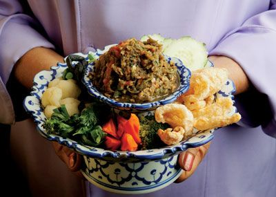 Nam prik noom/roasted chile dip. Lanna food comes to Saveur.Nahm Prik, Prik Noom, Thai Chilis, Noom Thai, Northern Thailand, Thai Chile, Pork Rind, Chilis Dips, Chile Dips