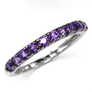 Natural Amethyst White Gold Plated 925 Sterling Silver Journey Stack/Stackable Ring