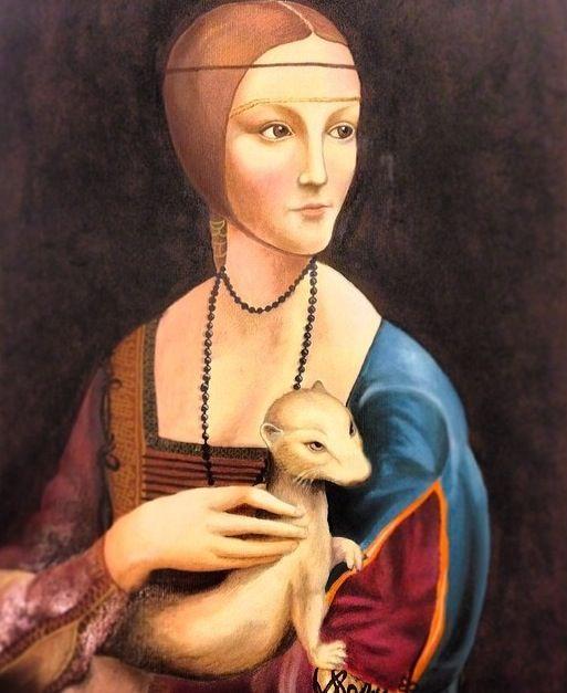 "Copy of Da Vinci's ""Lady with an Armine"" oil on paper"