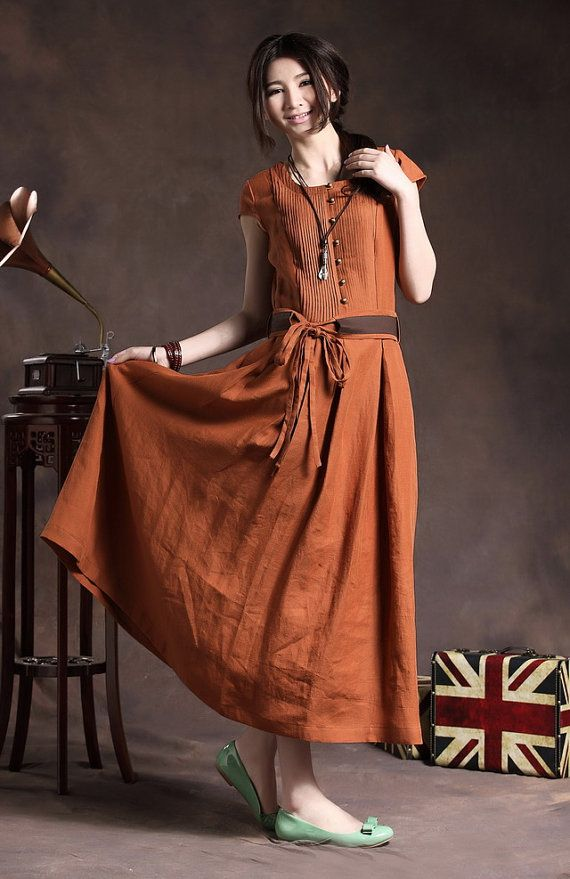 Maxi Linen Dress with Belt in Orange/Cocktail door camelliatune, $88.00