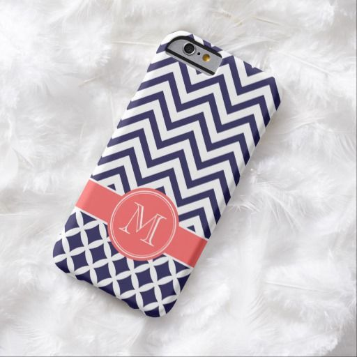 Cute iPhone 6 Case! This Navy Blue and Coral Chevron Custom Monogram iPhone 6 Case can be personalized or purchased as is to protect your iPhone 6 in Style!