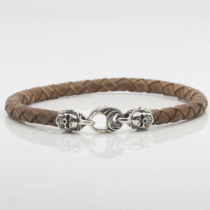 6mm Braided Leather Bracelet Sterling Silver 925 Spring Lock Skull Handmade #Handmade #bracelet