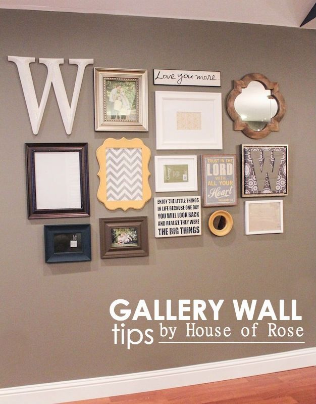 Gallery Wall: mirror, letters and/or word, mix of curves and straight lines, canvas and framed prints, art and portraits.