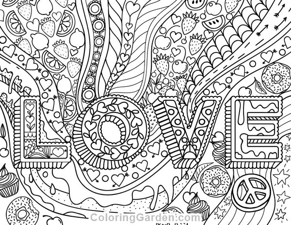 Printable Coloring Pages For Adults Love : Best hearts love coloring pages for adults images on