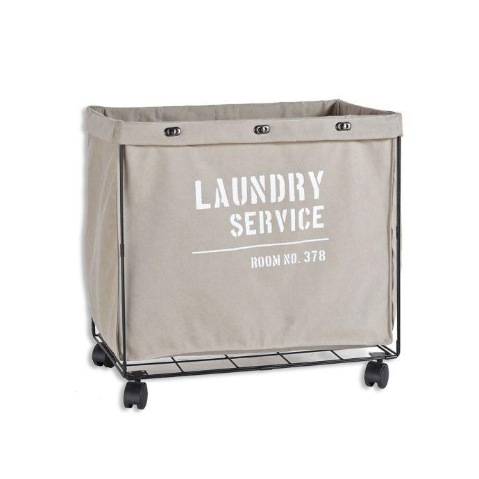 Danya B Army Canvas Laundry Hamper On Wheels In Grey Laundry