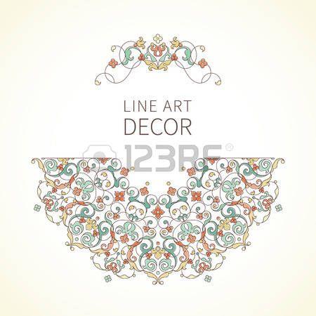 ISLAMIC BORDER: Vector ilustración floral en estilo oriental. Adornado elemento de la línea de arte para el diseño. decoración en tonos pastel de encaje. ornamento para las invitaciones, cumpleaños y tarjetas de felicitación, gracias mensaje, certificado, logotipo de la plantilla.