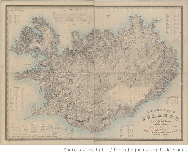 Uppdráttr Islands... Carte d'Islande... / exécutée sous la direction de M. O. N. Olsen (gallia)