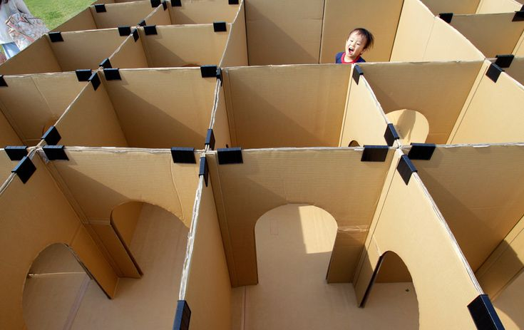 DIY maze made from cardboard boxes