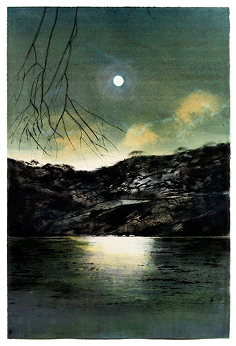 HEATHER DORROUGH   'Lunar Series 'Moon over the Tanks'   2011/2012  drypoint etching and mixed media  edition AP 2/4  75 x 52 cm