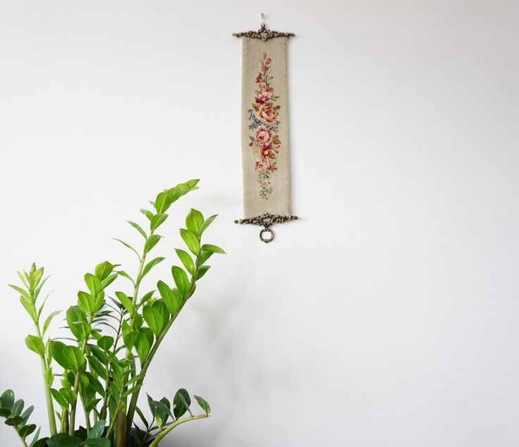 Top quality Antique Hand Embroidered Wall Decoration with  flowers by ScandicDiscovery on Etsy