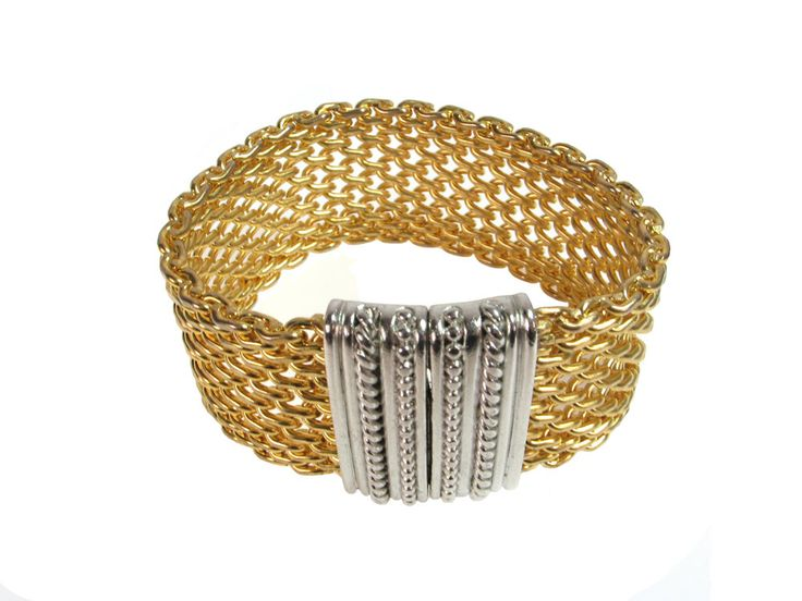Open Weave Gold Mesh Bracelet with Rhodium Magnetic Clasp by Erica Zap. Brass mesh cut and electroplated with 18k gold. Finished with a rhodium-plated magnetic clasp.