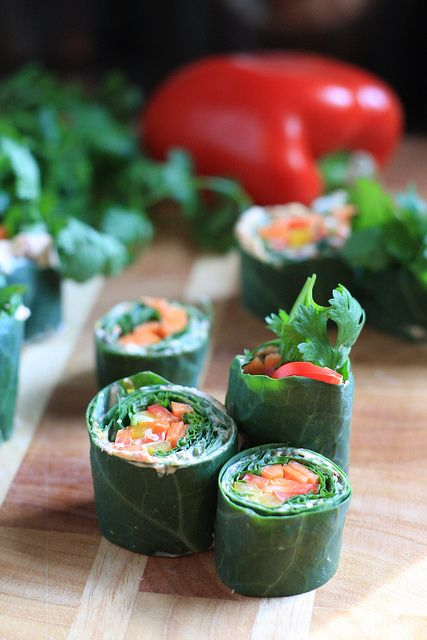 "Raw Collard Greens Sushi -- instead of tofu cream cheese, you could ""hold"" the sushi together with hummus."