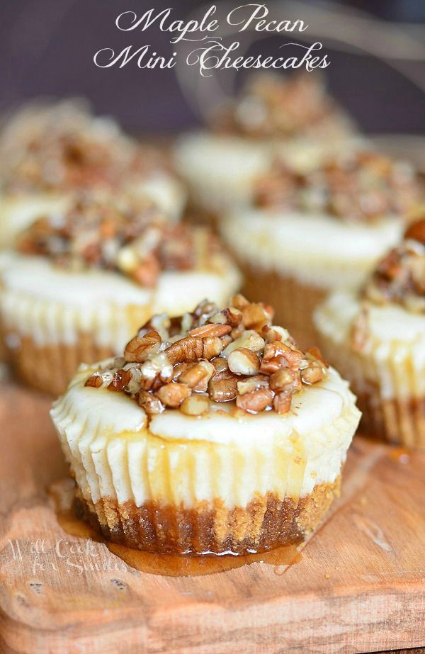 Maple Pecan Mini Cheesecakes. These mini cheescakes are the perfect mix of sweet and salty!