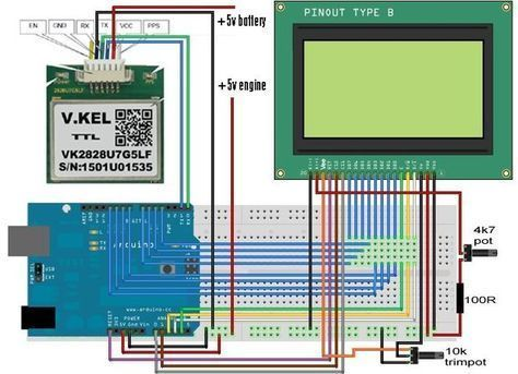 Arduino GPS Speedometer With a Ks0108 - 128x64 GLCD (display