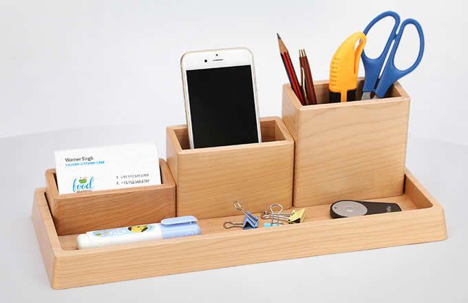 Wooden Desk Organizer Home Office Accessories Set 4 Piece Set Wooden Desk Organizer Home Office Accessories Desk Organizers