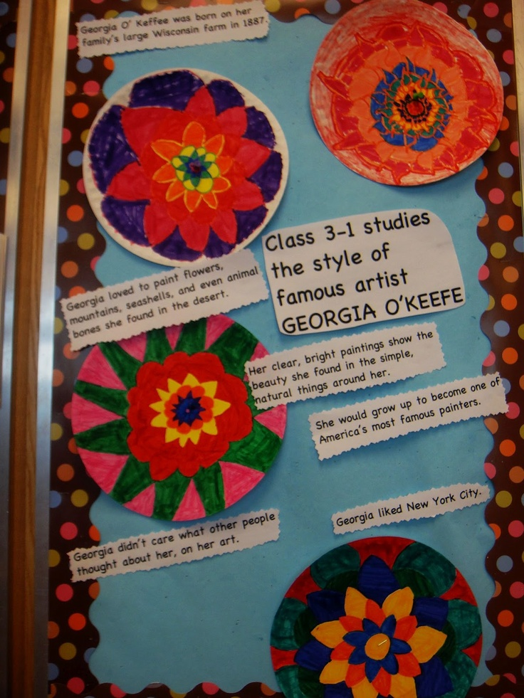 Georgia O'Keefe art activity after reading about the artist..(new book in our school library)