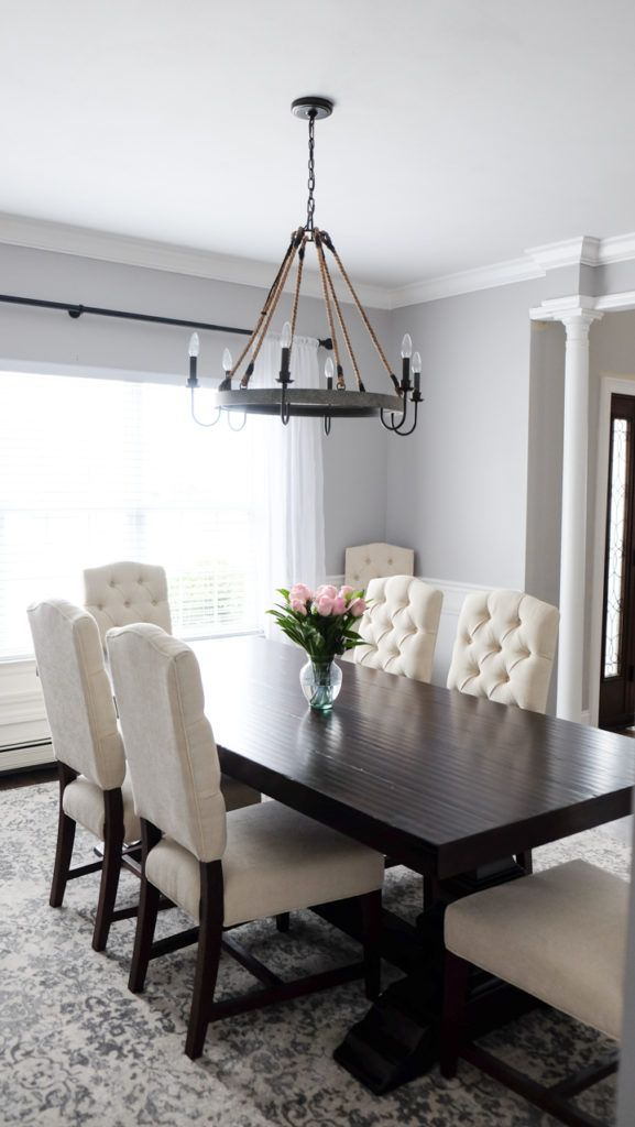 gray and white dining room pottery barn tufted chairs and banks dark wood table