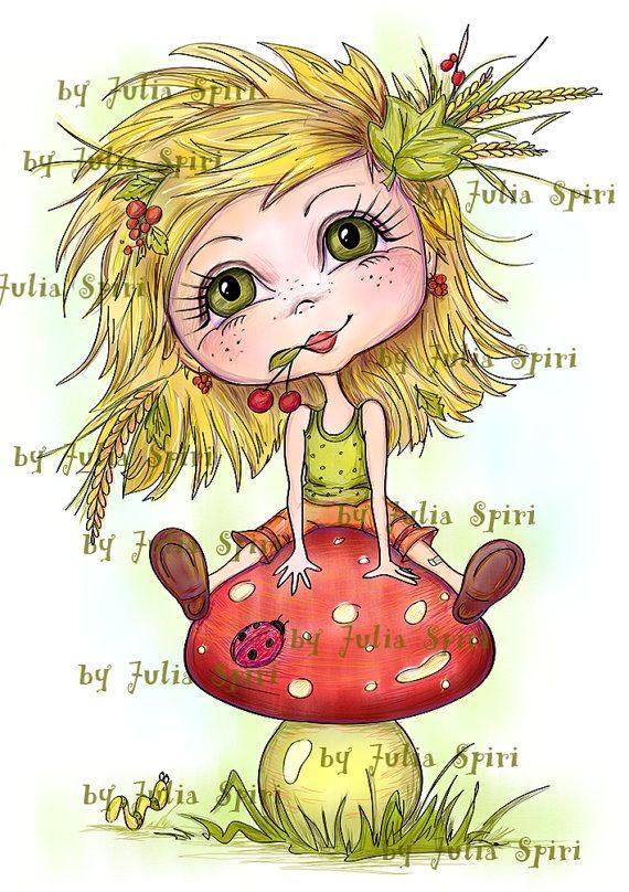 Digital Stamps Girl stamps Mushroom Digi stamp