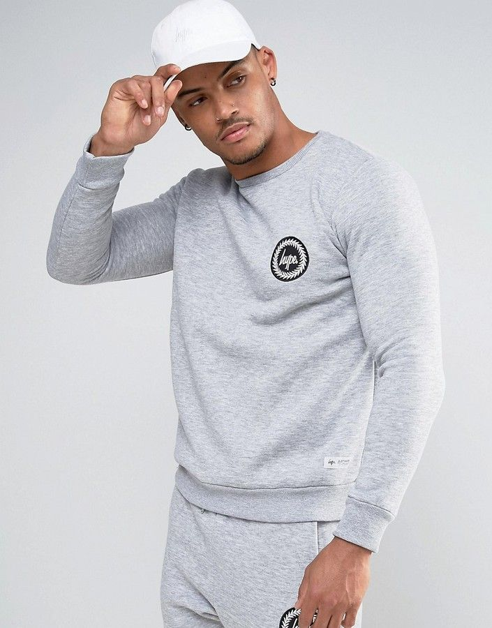 Hype Sweatshirt In Gray With Crest Logo